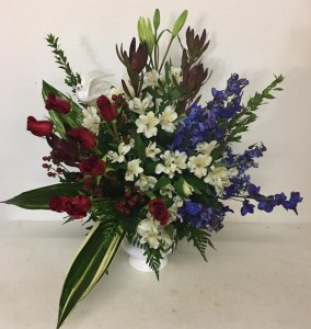 Red, White & Blue Red Rose with White & Blue Filler in Plainview, TX | Kan Del's Floral, Candles & Gifts
