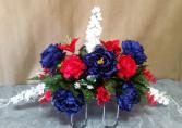Red, white & blue saddle monument saddle