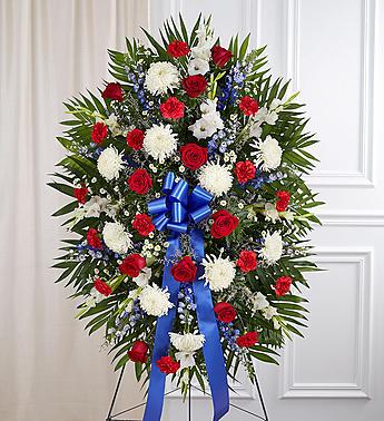 Red, White & Blue Sympathy Standing Spray funeral spray