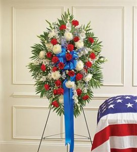 Red, White & Blue Sympathy Standing Spray Funeral in Crestview, FL | The Flower Basket Florist