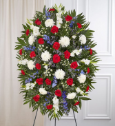 Red, White & Blue Sympathy Standing Spray Standing Sprays & Wreaths