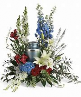 Red White & Blue Tribute  Urn Arrangement