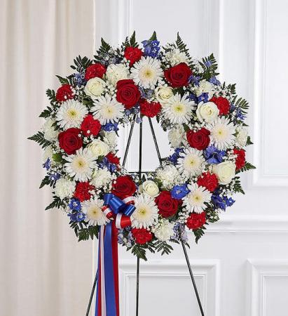Red White & Blue Tribute  Wreath Arrangement
