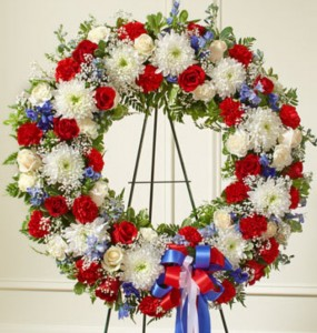 Red White & Blue Wreath Sympathy