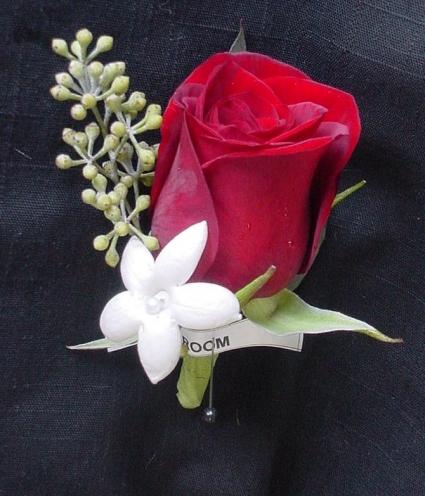 Red & White Boutineer Boutineer