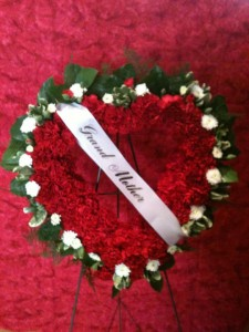 RED AND WHITE CARNATION HEART Funeral in Bristol, VT | Scentsations Flowers & Gifts