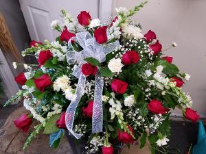 Red & White Casket   in Crossville, TN | Poppies Florist