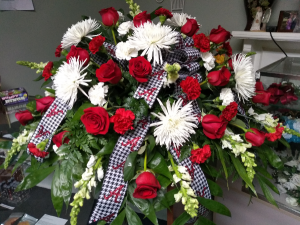 Red & White Casket Flowers  in Phenix City, AL | BUDS & BLOOMS FLORIST