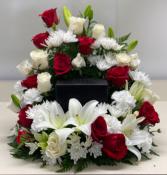 Red & White Cremation Celebration Arrangement  Fresh Cremation