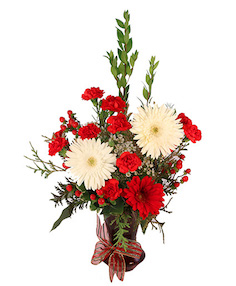 Red & White Daisy Delight Floral Design