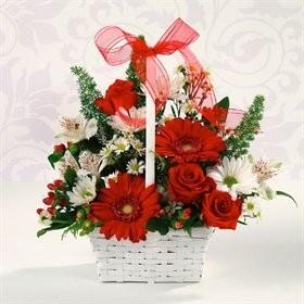 Red & White Delight basket Valentine Flowers
