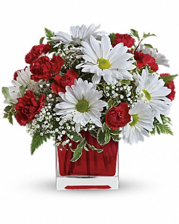 Red White Delight Flower Arrangement In Largo Fl Rose Garden Florist