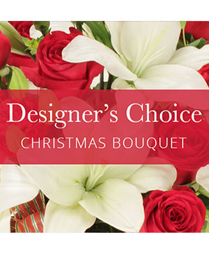 Red & White Designers Choice Christmas Bouquet  in Sheridan, WY | BABES FLOWERS, INC.