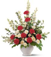 Red & White Fan Shape Funeral Arrangement