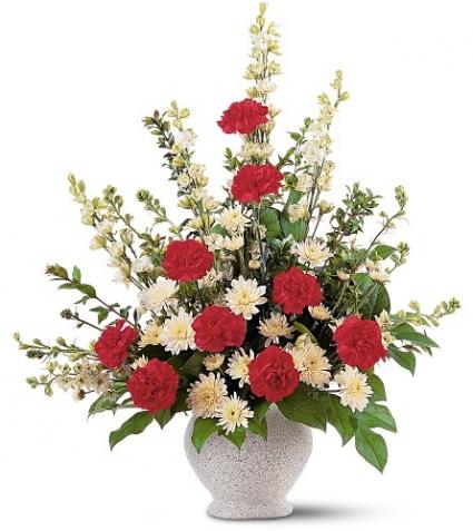 Red & White Fan Shape Funeral Arrangement