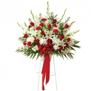 Red & White Funeral Basket Stand Included