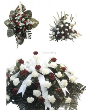 Red & White Funeral Funeral Package in Abbotsford, BC | BUCKETS FRESH FLOWER MARKET INC.