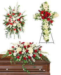 Red & White Funeral Packages Standing Spray, Cross, and Casket Piece