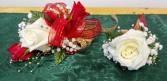 Red, White & Gold Prom Corsage and Boutonniere Set