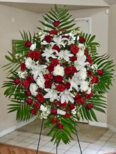 Red & White  Large Standing Spray