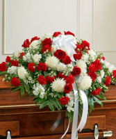 Red & white Majestic Casket Spray