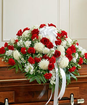 Red & white Majestic Casket Spray  in Bronx, NY | Bella's Flower Shop
