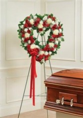Red & White Mixed Standing Open Heart Funeral