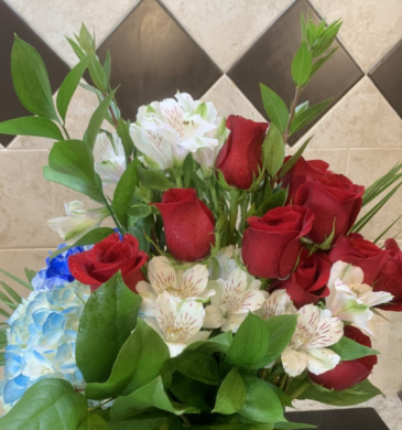 Red & White Red Roses with White accents