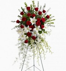 RED & WHITE REMEMBRANCE FUNERAL SPRAY
