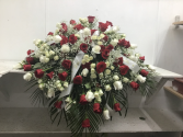 Red & White Rose Casket Cover Casket Cover