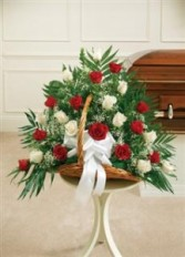 Red & White Rose Fireside Basket  Funeral - Sympathy