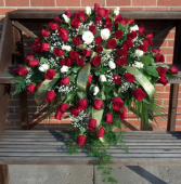 Red & White Roses Casket Spray