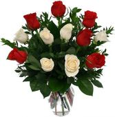 RED & WHITE ROSES CLASSIC ARRANGEMENT