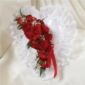 Red & White Satin Heart Pillow