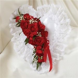 Red & White Satin Heart Pillow