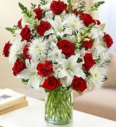 Red & White Sincerest Sorrow Vase Arrangement