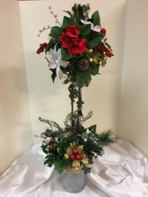 "Red, white, siver and gold topiary 30"" silk arrangement with lights"