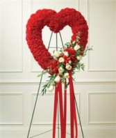 Red & White Standing Open Heart  Funeral