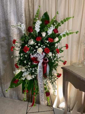 Red & White Standing Spray  in Houston, TX | FLOWER FACTORY PLUS