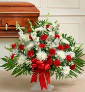 Red & White Sympathy Floor Arrangement