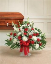 Red & White Sympathy Floor Basket Funeral - Sympathy