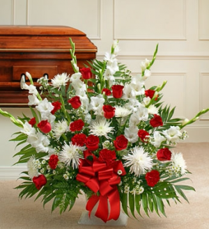 Red & White Sympathy Funeral in Hoxie, KS | Cressler Creations & Gifts
