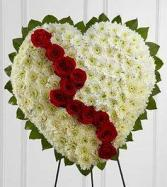 Red & White sympathy heart Standing Spray