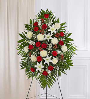 Red & White Sympathy Standing Spray  in Bradenton, FL | Detalles En Flores