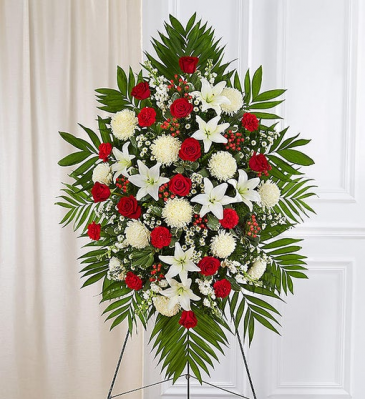 Red & White Sympathy Standing Spray Standing Sprays & Wreaths