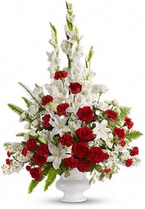 Red & White Sympathy  in New Port Richey, FL | FLOWERS TODAY FLORIST