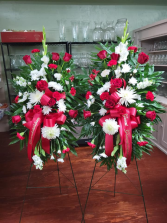 Red & White Traditions Easel Pair Standing Sprays
