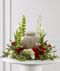 Red & White  Urn Wreath          (Urn Not Included )