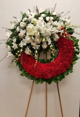 Red & white wreath Funeral