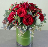 RED WINTER HOLIDAY  ELEGANT MIXTURE OF FLOWERS
